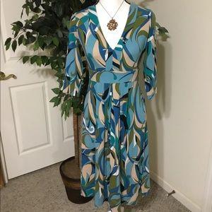 New York & Company Multicolor Retro Dress Small